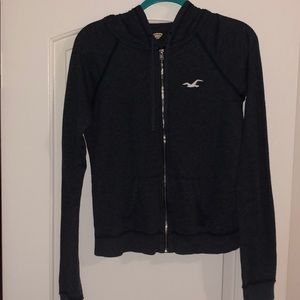 Hollister Navy Blue Hooded Zip Up Jacket
